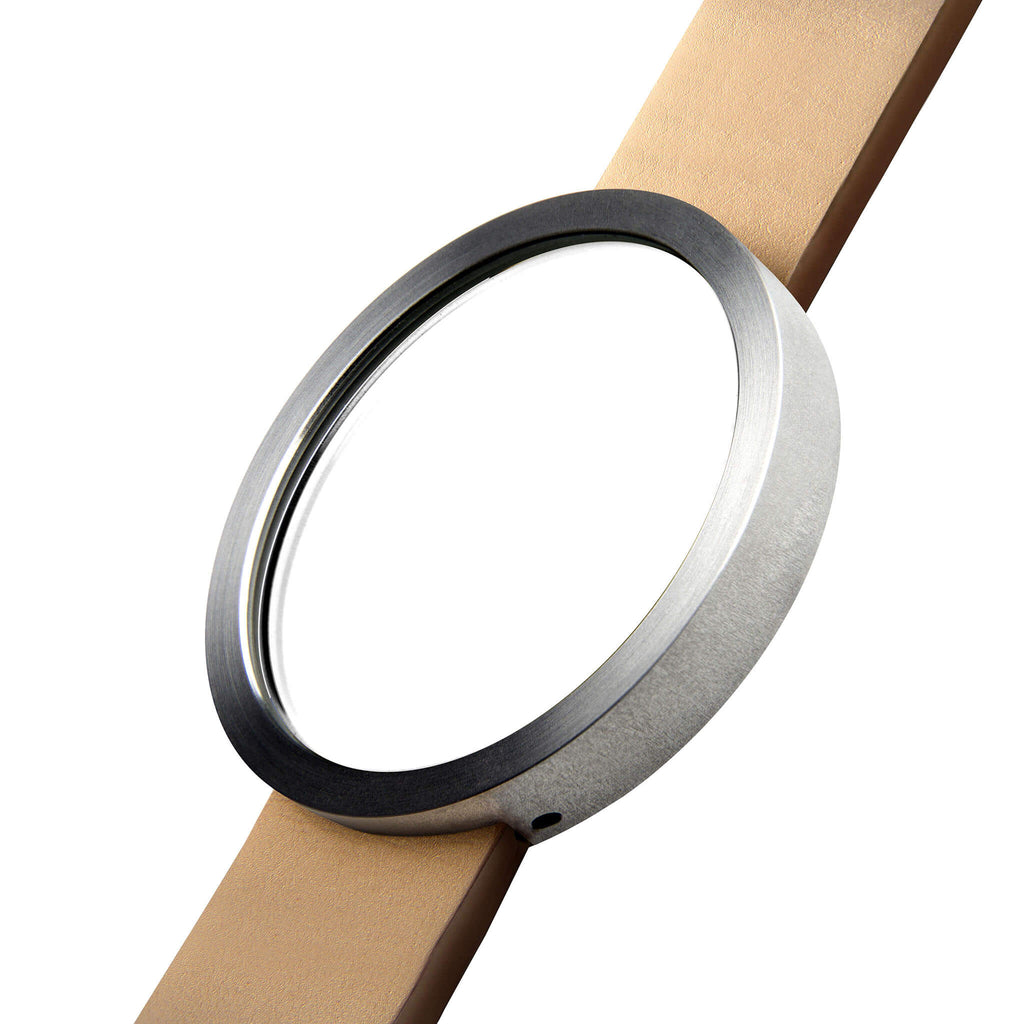 Timeless Stainless Steel Wrist Mirror with Natural Tan Leather Strap