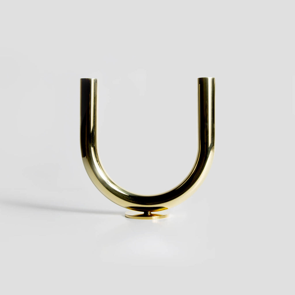 U Candleholder in Brass