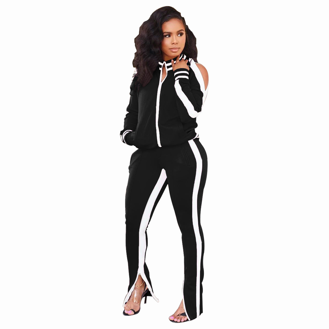 White Sided Open Shoulder Split Pant Set