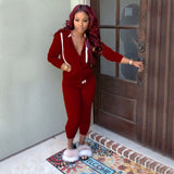 Solid Drawstring Hooded Long Set