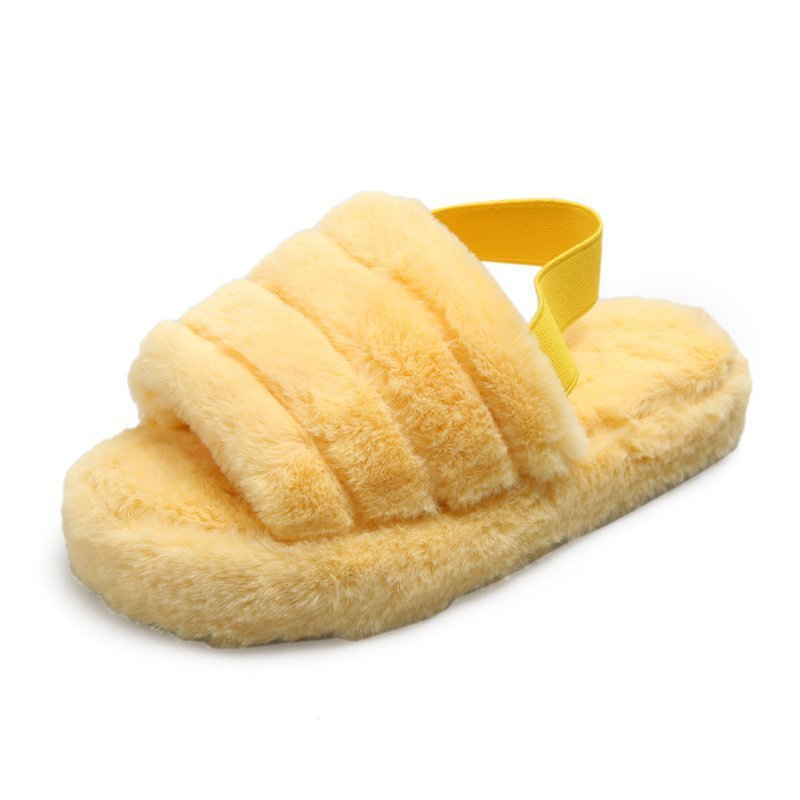 Solid Furry Sandals