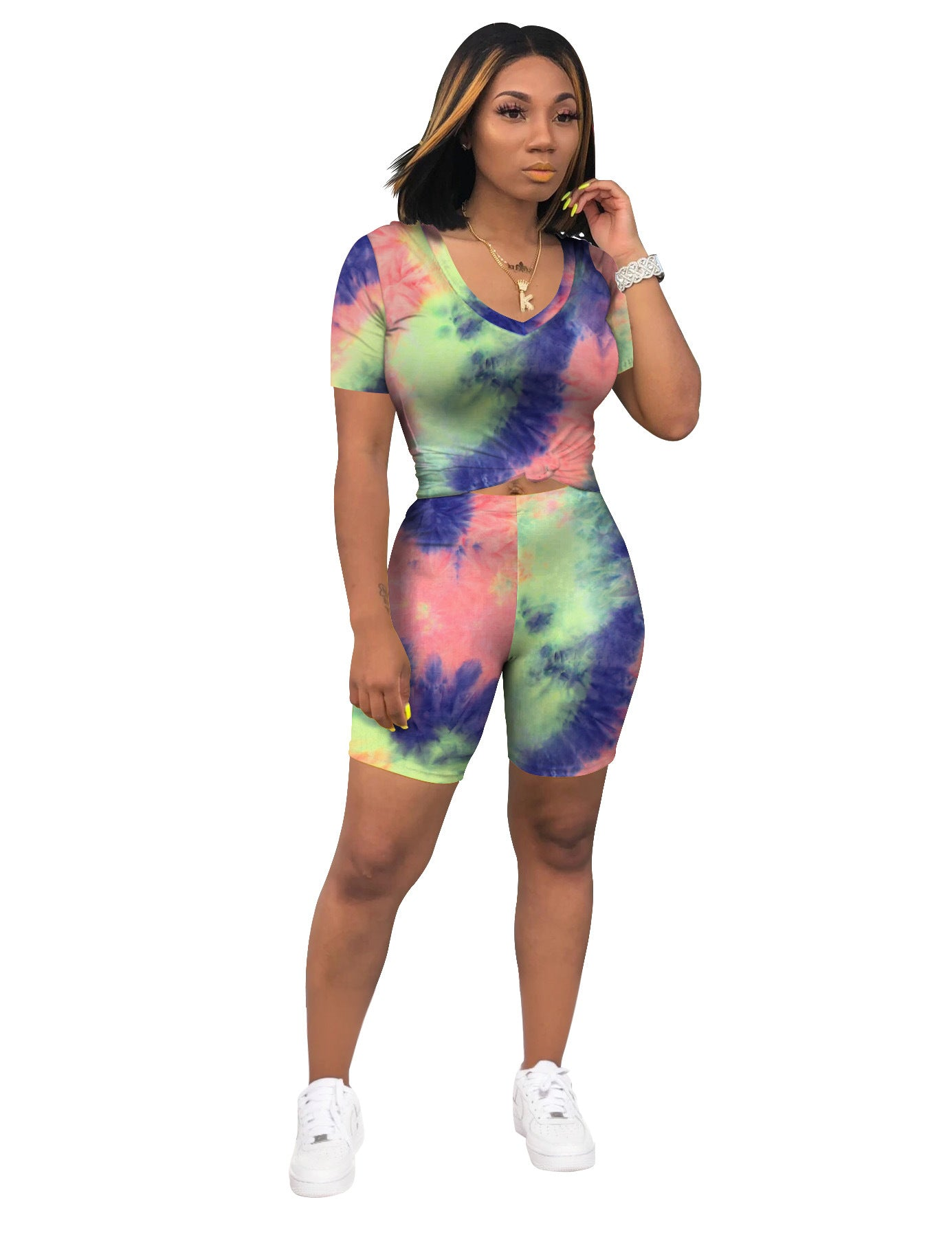 V-neck Tie Dye Short Set