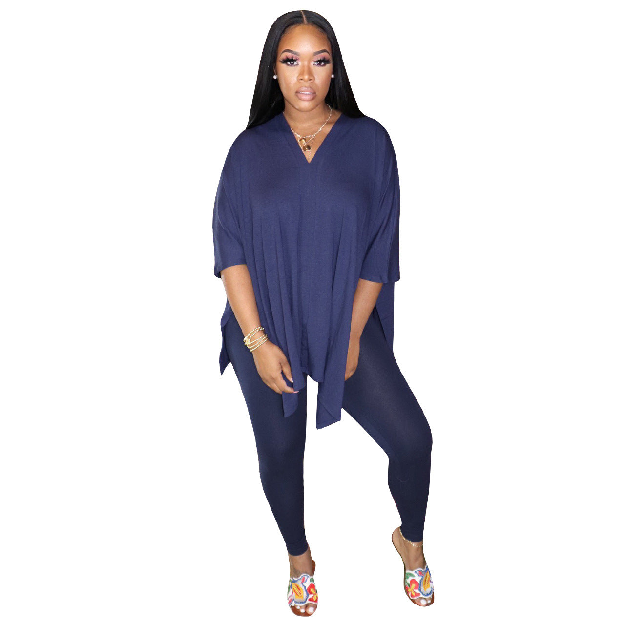Wide V Neck Top Tight Pant Set