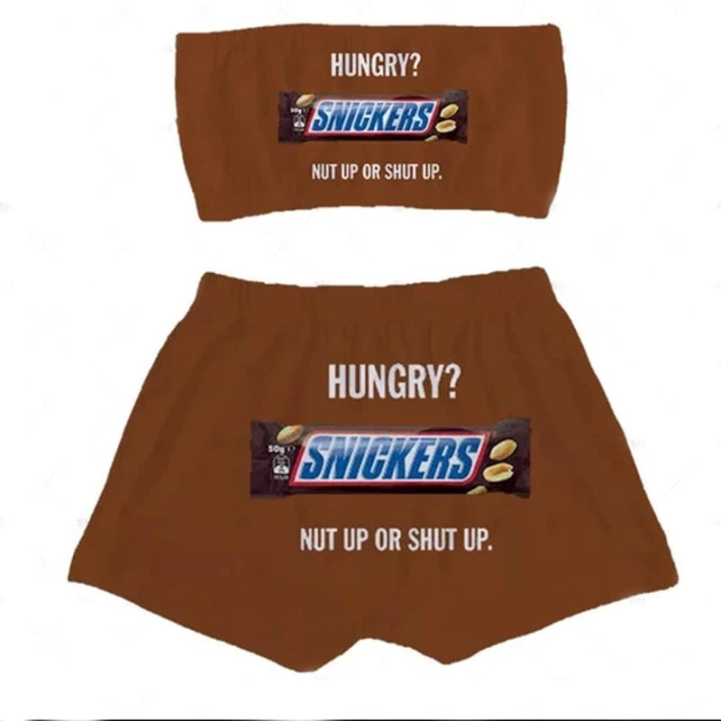 Snickers Printed Tank Top Short Set