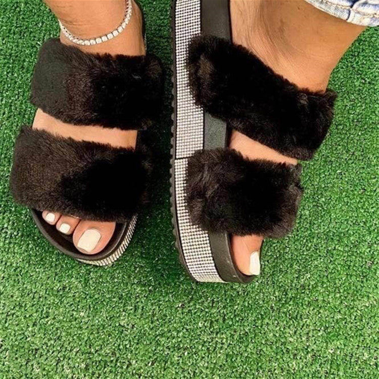 Furry Rhinestones Slippers