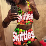 Skittles Printed Crop Top Short Set