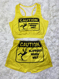 Caution Crop Top Two Piece