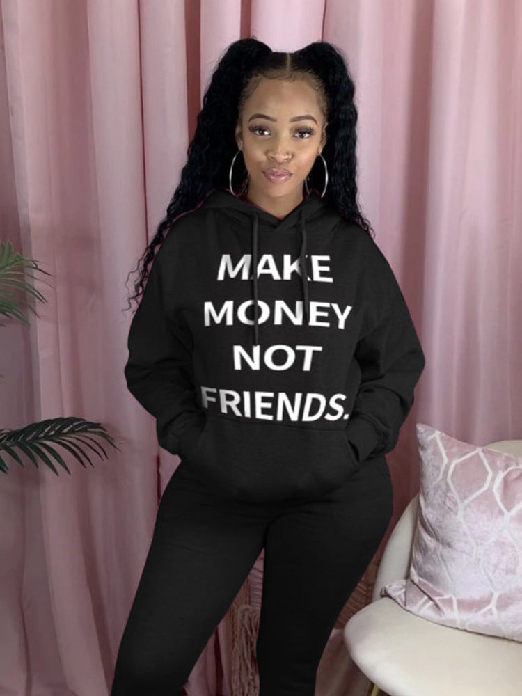 Make Money Not Friends Hoodie Long Set