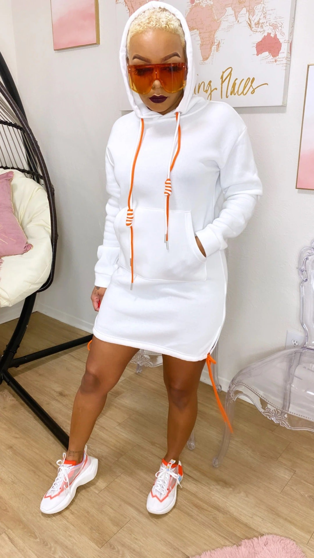 Drawstring Hooded Dress