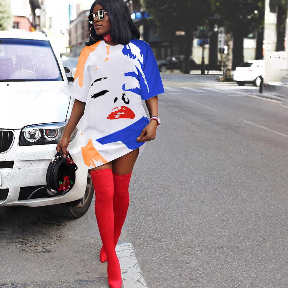 Color Face Tee Dress