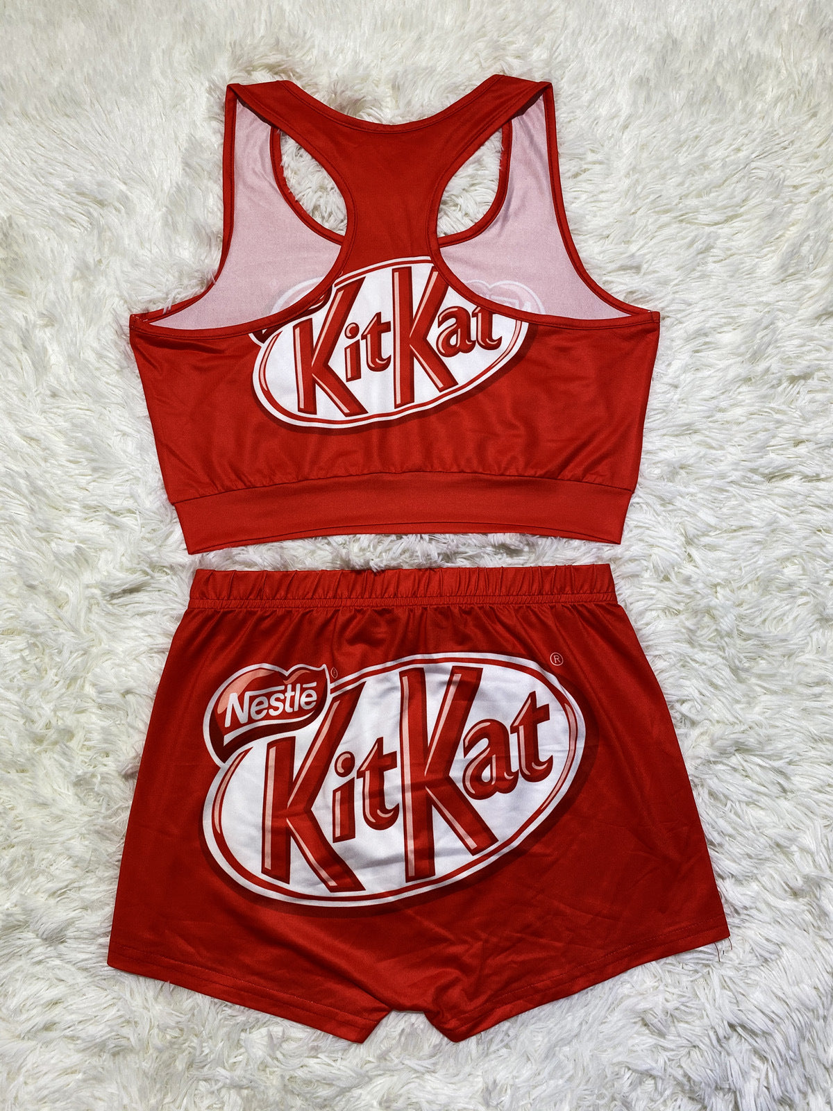 Kit Kat Printed Crop Top Short Set