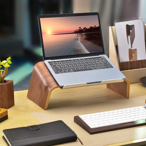wooden stand for laptop and macbook pro or macbook air, stand designed for comfortable work from home and office. great design to organize your desktop. perfect gift for worker or colleague