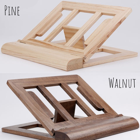adjustable tablet stand with wrist rest walnut color and pine color