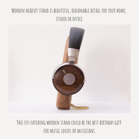 Wooden headphone stand for desk. Handcrafted from solid walnut or beech wood. Modern and unique design.