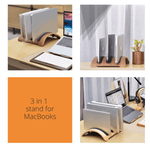 3 in 1 charging station plywood stand holder for your Apple MacBook Air or Pro Great stand if you own few MacBooks and wants to organize your desktop.
