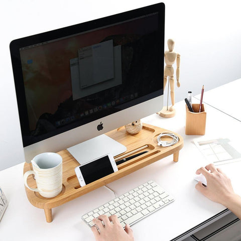 Monitor stand organizer for iMac, wooden monitor riser with storage, desk organizer for home office, rise stand for desktop, computer, TV