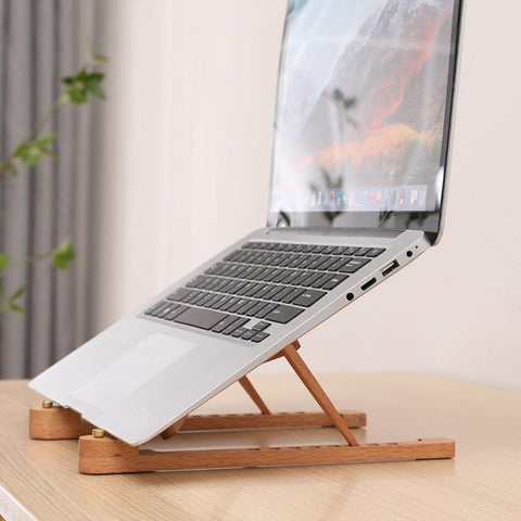 Portable laptop stand wood for MacBook, Lenovo, HP, Asus, Acer