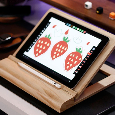 Adjustable tablet stand with wrist rest support for desk. Perfectly fits all sizes tablets and slim laptops. The stand is made out of a pine or walnut wood, which makes it light and easy to carry. It makes your work at home, at school, at the office much more comfortable. This stand holder can be used for iPad Pro and other tablets like Galaxy Tab, Google Nexus, Dell Venue and other models.  Please note that all items are hand-crafted and may be made from different piece of wood, so yours may not look exact
