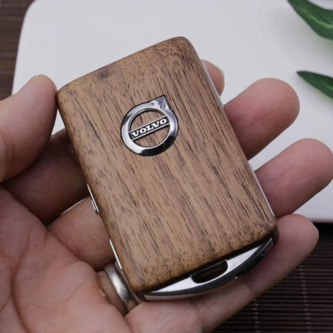 Wooden car key case for Volvo models Volvo XC90 V90 S90 XC60 V60 S60 XC40 Polestar1 Polestar2 with car key wristlet