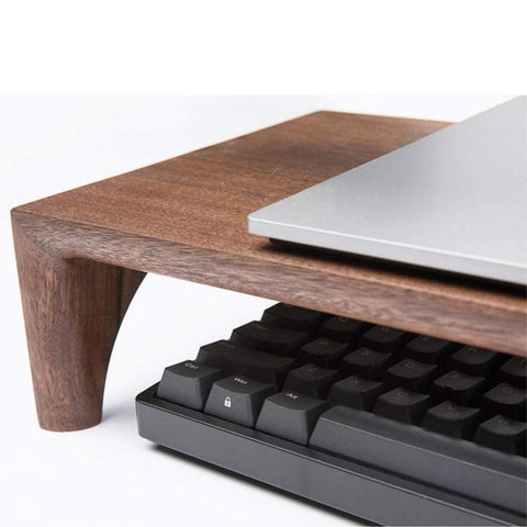 Walnut monitor stand for iMac, wood laptop stand, elevated computer display stand, solid walnut wood table table support for tv, desk stand