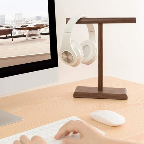 Wooden headphone stand for two headsets