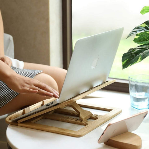 Adjustable wooden laptop stand holder for your notebook