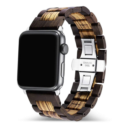 Ebony Zebra Wooden Band for Apple Watch 🌳 Natural Wood. ♻️ Eco-friendly. ✈️ Free Worldwide Shipping. 🎁 Perfect Gift.