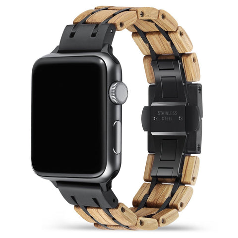 White Oak Black Apple Watch Band 🌳 Natural Wood. ♻️ Eco-friendly. ✈️ Free Worldwide Shipping. 🎁 Perfect Gift.