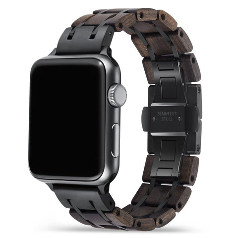 Sandalwood Black Apple Watch Band 🌳 Natural Wood. ♻️ Eco-friendly. ✈️ Free Worldwide Shipping. 🎁 Perfect Gift.