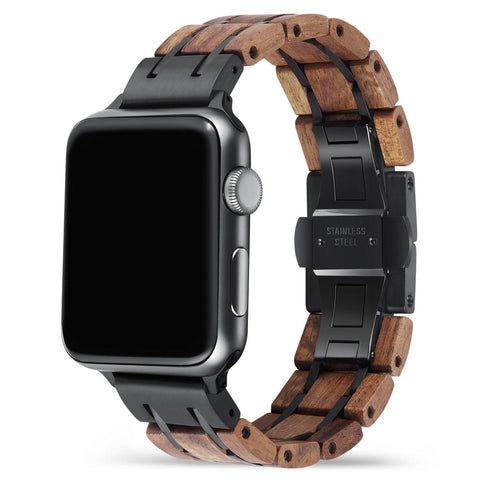 Koa Black Apple Watch Band 🌳 Natural Wood. ♻️ Eco-friendly. ✈️ Free Worldwide Shipping. 🎁 Perfect Gift.