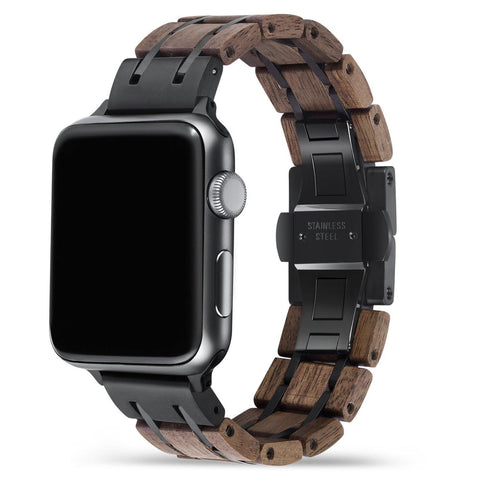 Walnut Black Apple Watch Band 🌳 Natural Wood. ♻️ Eco-friendly. ✈️ Free Worldwide Shipping. 🎁 Perfect Gift.
