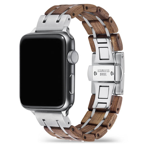 Walnut Silver Apple Watch Band 🌳 Natural Wood. ♻️ Eco-friendly. ✈️ Free Worldwide Shipping. 🎁 Perfect Gift.