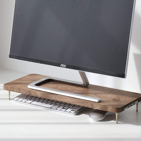 Universal monitor stand for iMac, wooden laptop stand with USB ports, elevated computer display stand, solid walnut wood desk shelf support