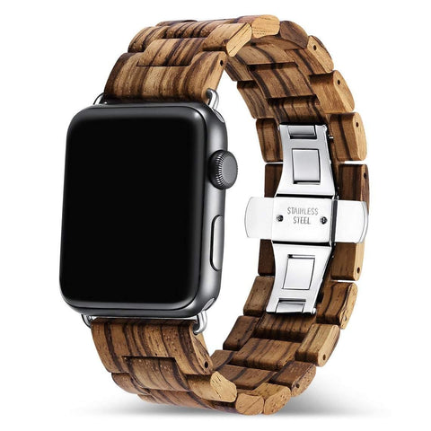 Zebra Wooden Band for Apple Watch 🌳 Natural Wood. ♻️ Eco-friendly. ✈️ Free Worldwide Shipping. 🎁 Perfect Gift.