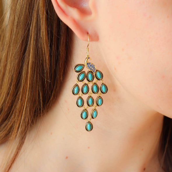 Simulated Turquoise + CZ Peacock Earrings