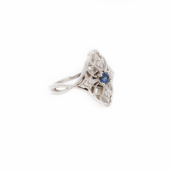 'Joy' Art Deco Inspired Yogo Sapphire + 14k White Gold and Diamond Ring