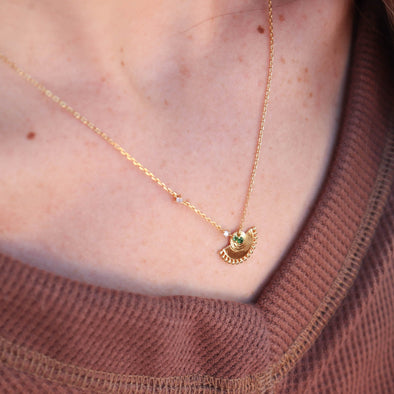 Green + Gold Pendant Necklace
