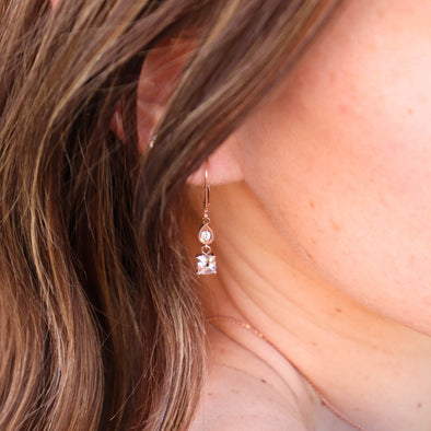 Morganite + Rose Gold Earrings