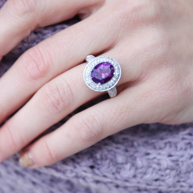 Amethyst + Diamond Ring