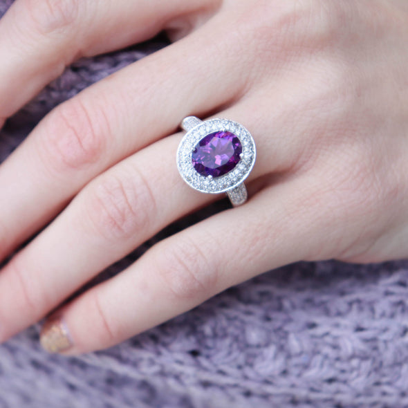 'Georgiana' Amethyst + Diamond Ring