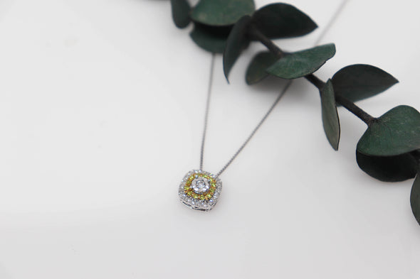 Yellow + White Diamond Pendant Necklace