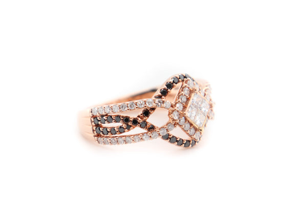 'Cris' Black + White Diamond Ring
