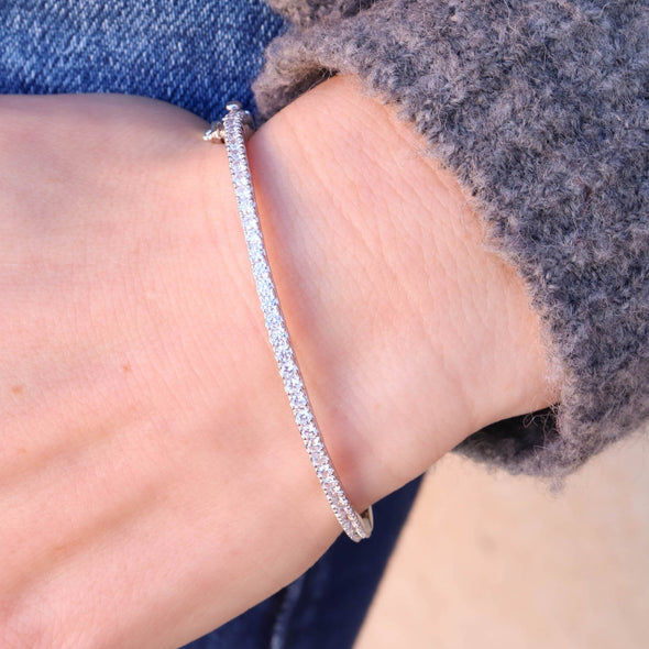 Sterling + CZ Bangle