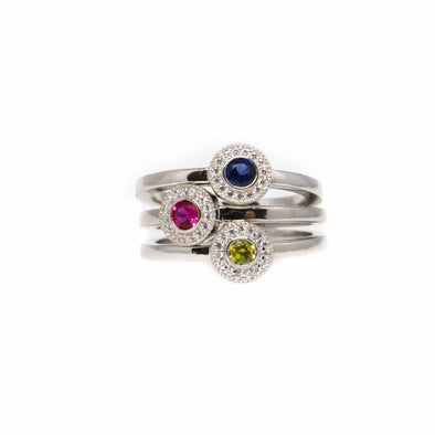 Stackable Birthstone Halo-Style Ring