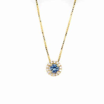 Montana Sapphire + Diamond Halo Necklace [Yellow Gold]