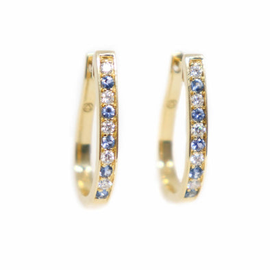 'Dana' Yogo Sapphire + Diamond Yellow Gold Hoop Earrings