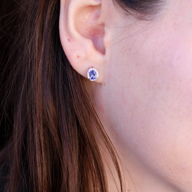 Tanzanite + Diamond Halo Studs