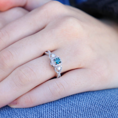 'Sansa' Blue Diamond Halo Ring