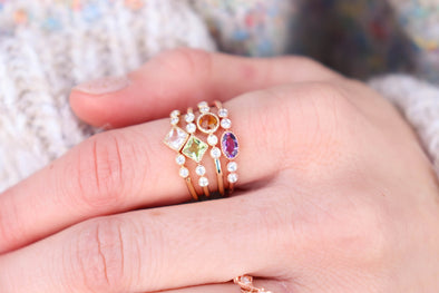 'Mila' Vintage Style Stackable Gemstone Rings