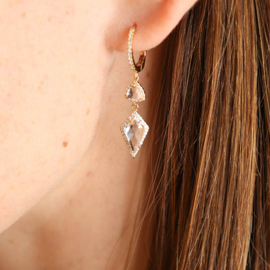 Fancy White Topaz + Diamond Huggie Drop Earrings